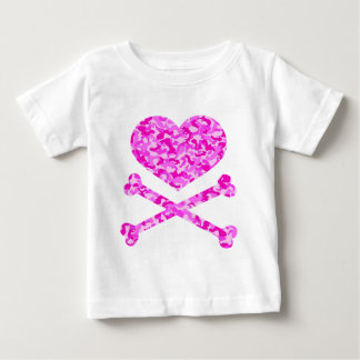 heart and cross bones urban camo pink t-shirt