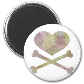heart and cross bones water color 2 inch round magnet