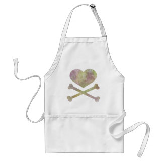 heart and cross bones water color aprons