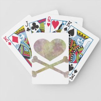 heart and cross bones water color bicycle playing cards