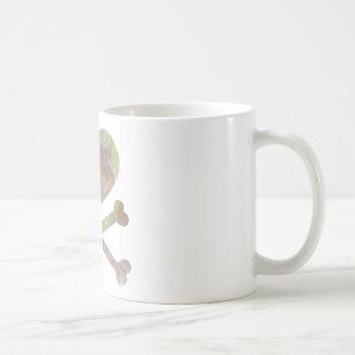 heart and cross bones water color coffee mug