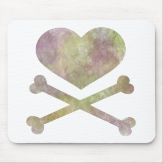 heart and cross bones water color mouse pad