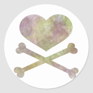 heart and cross bones water color round stickers