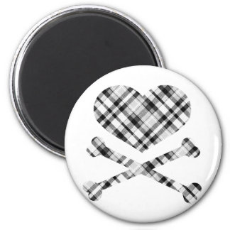 heart and cross bones white black plaid 2 inch round magnet