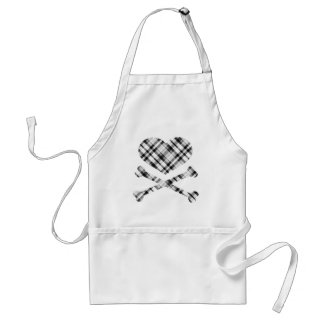 heart and cross bones white black plaid aprons