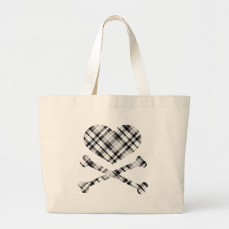 heart and cross bones white black plaid bag