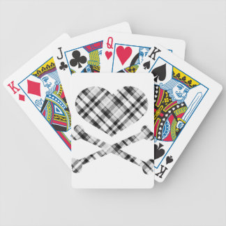 heart and cross bones white black plaid bicycle playing cards
