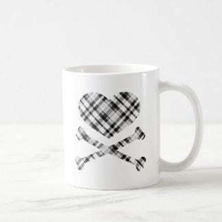 heart and cross bones white black plaid coffee mug