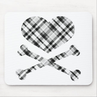 heart and cross bones white black plaid mouse pad
