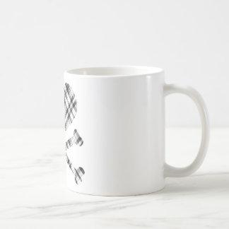 heart and cross bones white black plaid coffee mugs