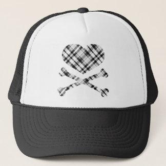 heart and cross bones white black plaid trucker hat
