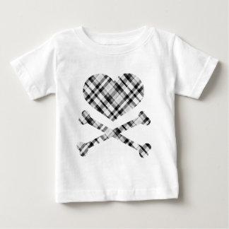 heart and cross bones white black plaid tees