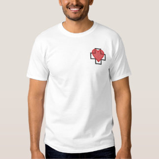 Heart and Cross Embroidered T-Shirt