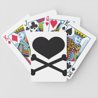 heart and crossbones black bicycle playing cards