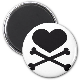 heart and crossbones black 2 inch round magnet
