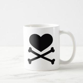 heart and crossbones black mug