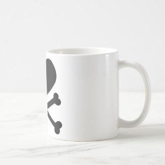 heart and crossbones black coffee mug