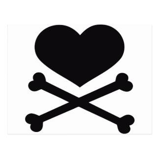 heart and crossbones black postcard