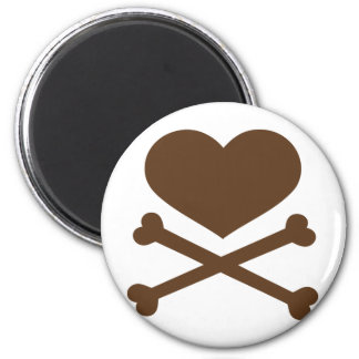 heart and crossbones brown 2 inch round magnet