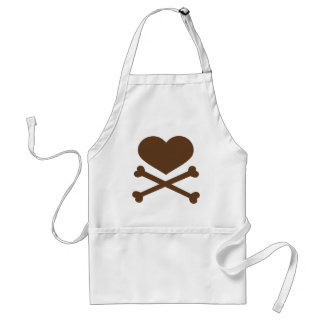 heart and crossbones brown aprons