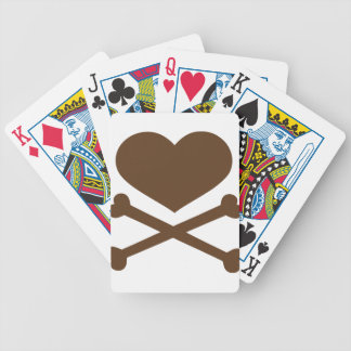 heart and crossbones brown bicycle playing cards