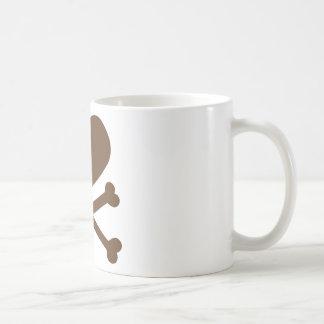 heart and crossbones brown coffee mug