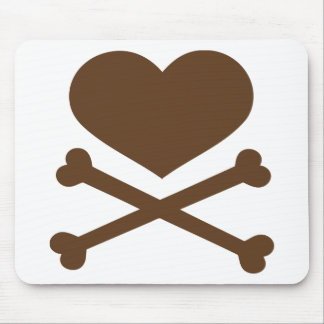 heart and crossbones brown mouse pad