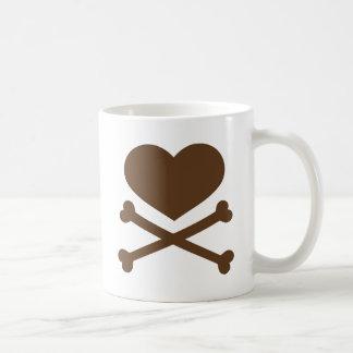 heart and crossbones brown coffee mugs