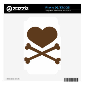 heart and crossbones brown skin for the iPhone 3GS