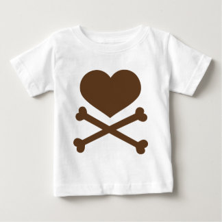 heart and crossbones brown tshirts