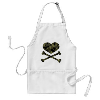 heart and crossbones forest camo apron