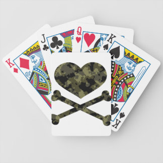 heart and crossbones forest camo bicycle playing cards