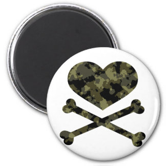 heart and crossbones forest camo 2 inch round magnet
