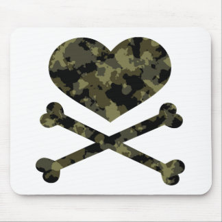 heart and crossbones forest camo mouse pad