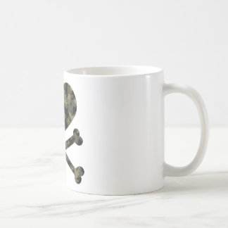 heart and crossbones forest camo coffee mug