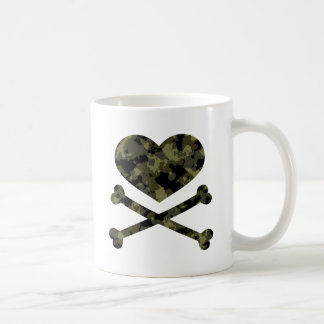 heart and crossbones forest camo mugs