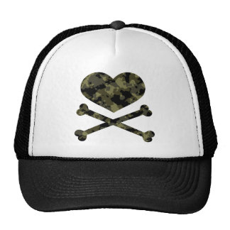 heart and crossbones forest camo trucker hat