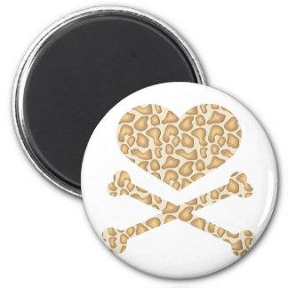 heart and crossbones giraffe light 2 inch round magnet