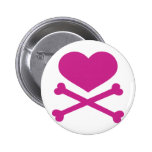 heart and crossbones hot pink 2 inch round button