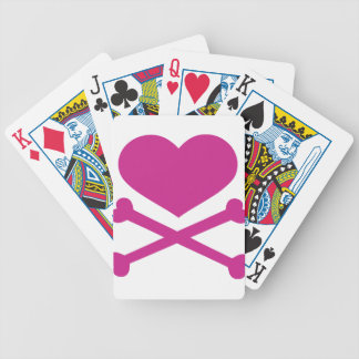 heart and crossbones hot pink bicycle playing cards