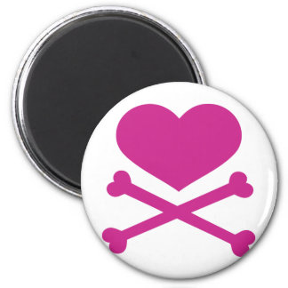 heart and crossbones hot pink 2 inch round magnet