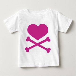 heart and crossbones hot pink shirts