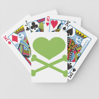 heart and crossbones lime green bicycle playing cards
