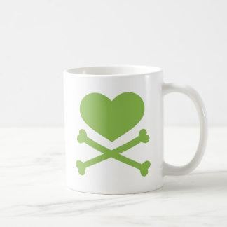 heart and crossbones lime green coffee mug