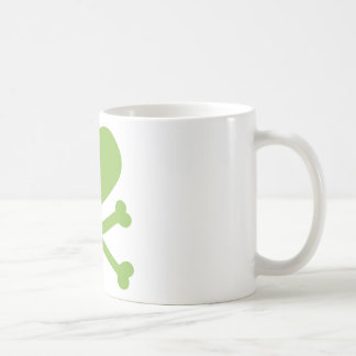 heart and crossbones lime green coffee mugs