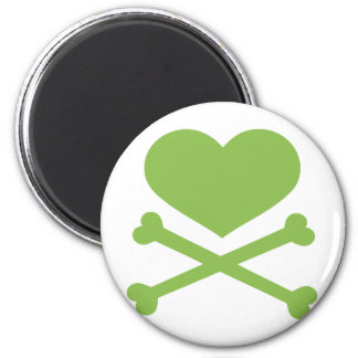 heart and crossbones lime green 2 inch round magnet