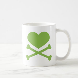 heart and crossbones lime green coffee mugs