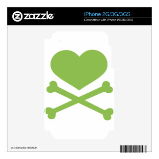 heart and crossbones lime green iPhone 3GS skin