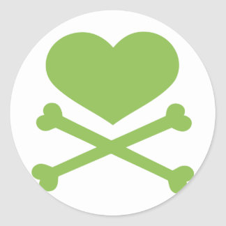 heart and crossbones lime green round stickers