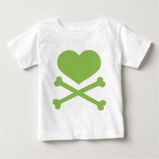 heart and crossbones lime green shirt